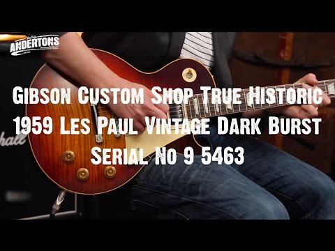 Top Shelf Guitars - Gibson True Historic 1959 Les Paul Vintage Dark Burst Serial No 9 5463