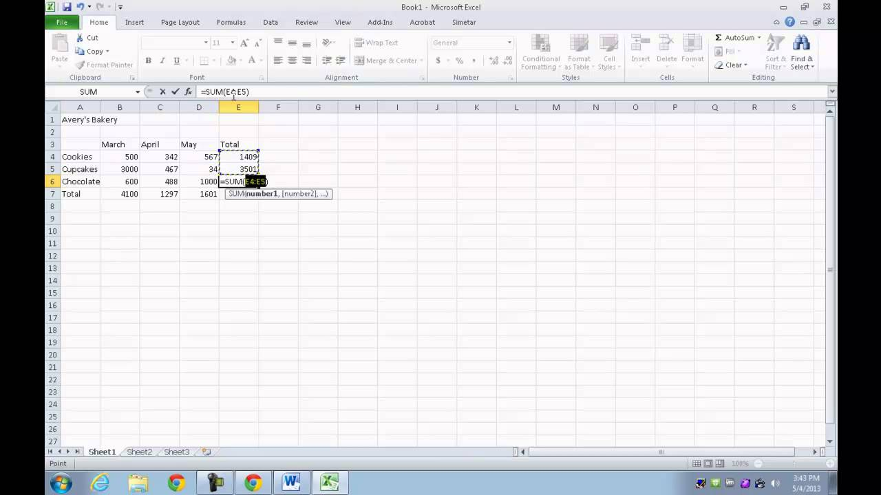 Avery's Bakery Excel Sheet - YouTube