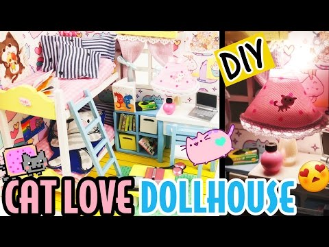 ASMR DIY DOLLHOUSE KIT CAT LOVE  - DOLLHOUSE BEDROOM