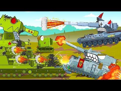 Steel Tank Chases The Enemies. World Of Tanks. Cartoon Monster Trucks For Kids. Soviet Tank.