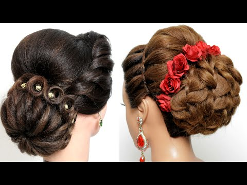 2-wedding-hairstyles-||-low-messy-bun-with-twisted-hair-||-hairstyles-for-medium&long-hair