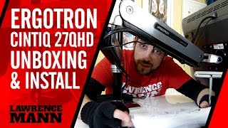 Ergotron LX Sit Stand Desk Mount LCD Arm unboxing & installation for Wacom Cintiq 27QHD Touch