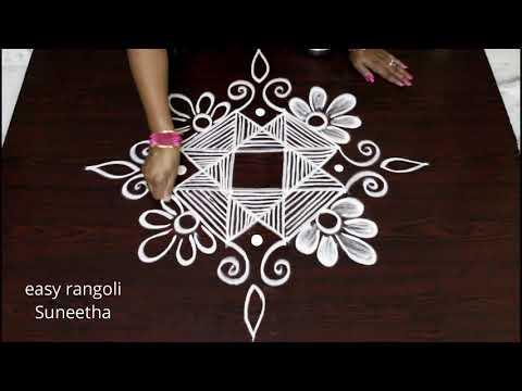 How to learn & draw 4 dots creative kolam designs    easy rangoli    new muggulu thumbnail