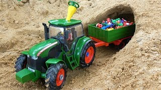 Learn colors with Assemble tractor with Trailer toys for kids