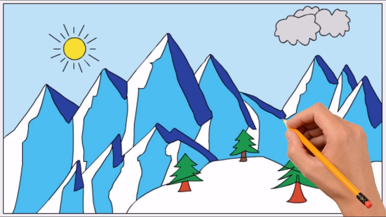 How To Draw A Snowy Mountain Step By Step Easy Coloring Page