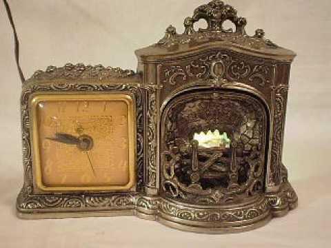 Vintage United Clock Model No  455 Mechanical Fireplace