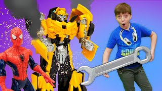Машинки Робокар Поли и робот Бамблби на техосмотре! Человек Паук привез машину в автомастерскую!