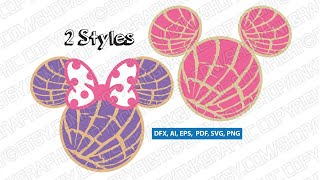 Concha Mickey Mouse Head SVG Sticker Decal Silhouette Cameo Cricut Cut File Dxf PNG
