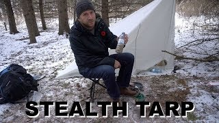 City Stealth Camping In The Snow With A Tarp