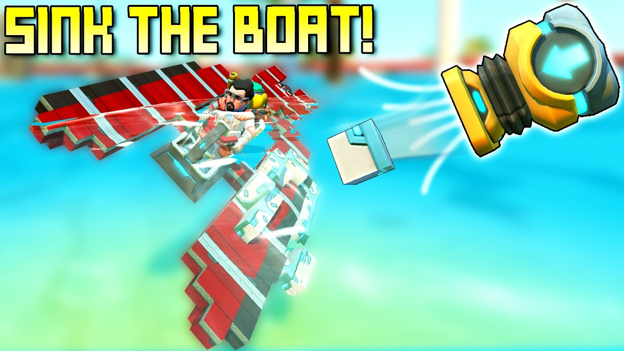 Sink the Boat by Shooting CONCRETE BLOCKS! - Scrap Mechanic Multiplayer Monday