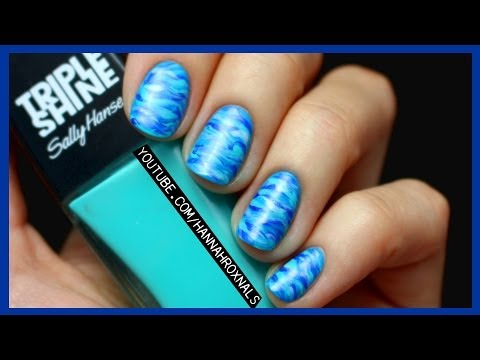 EASY Blue Ocean Nail Art (with just a brush!)