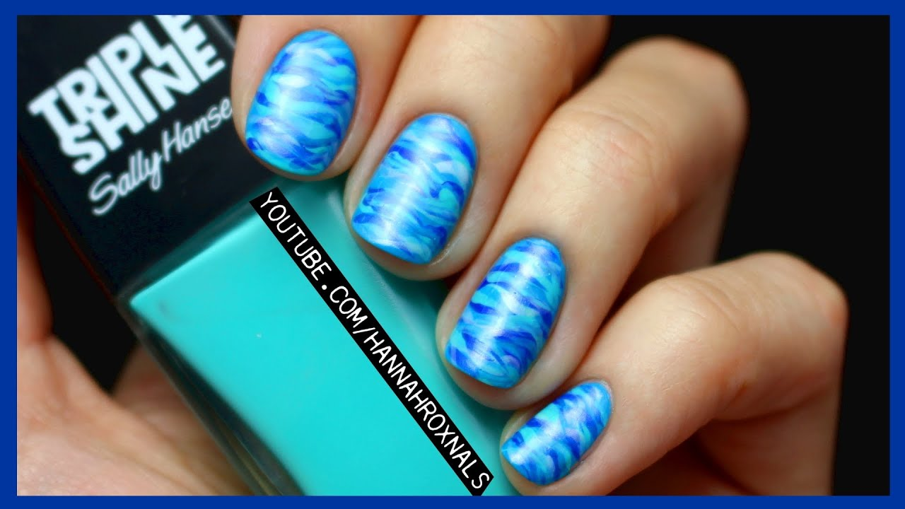 EASY Blue Ocean Nail Art (with just a brush!) - EASY Blue Ocean Nail Art (with Just A Brush!) - YouTube