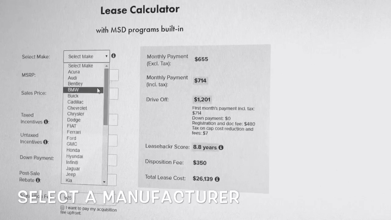 2017 Bmw Lease Payment Calculator Instruction Youtube