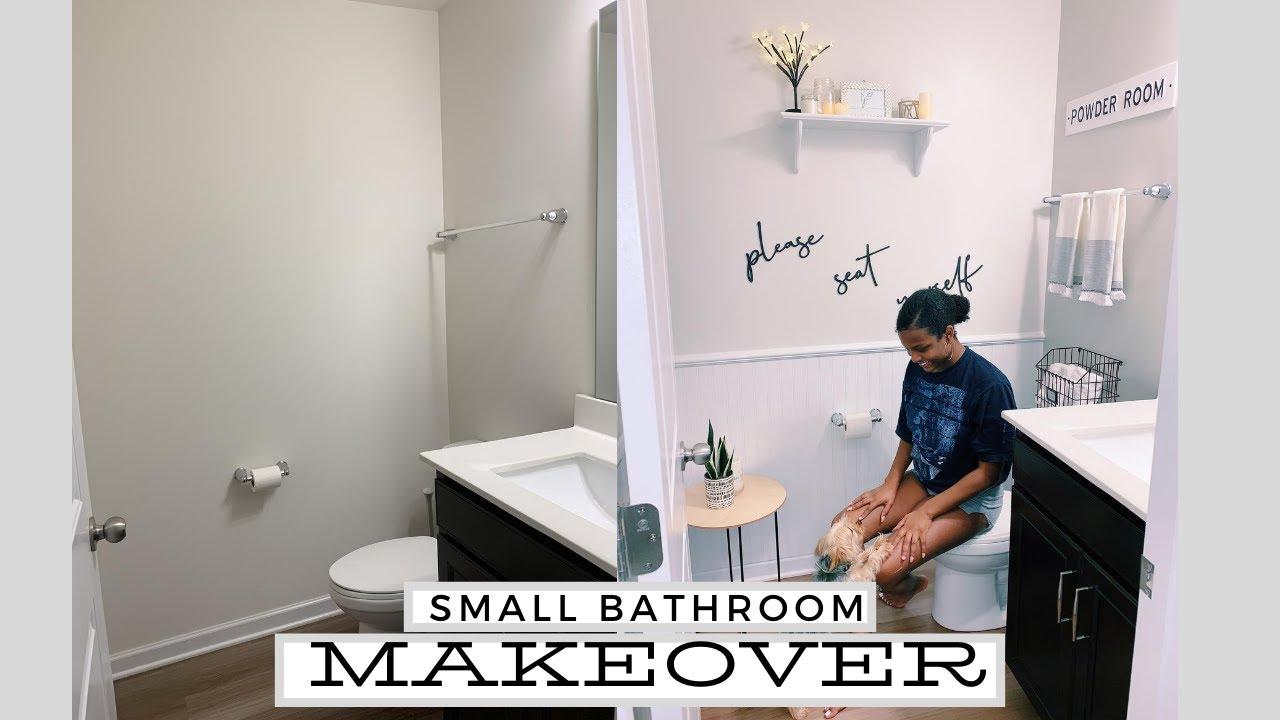 Diy Small Bathroom Makeover Transforming My Bathroom On A Budget Bathroom Decorating Ideas 2020 Youtube
