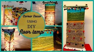 Traditional style Floor Lamp || How to make a lampshade from waste material||corner decor