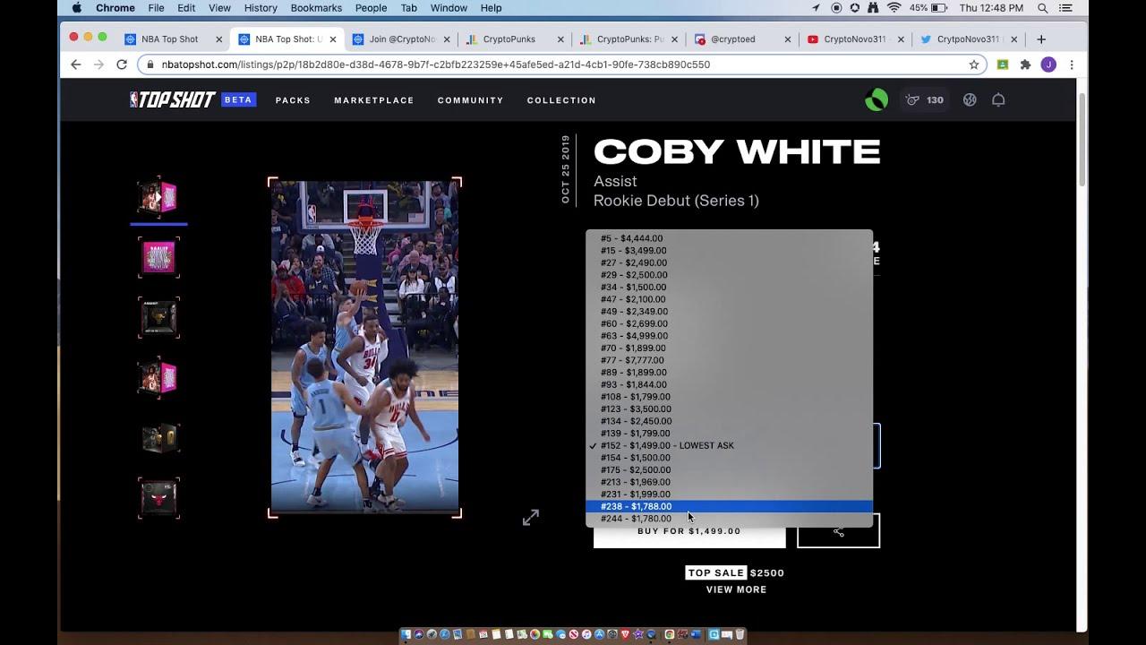 Crytponovo311 Nba Top Shot Nft Market Watch 100k From 185 Eth Cryptopunks Topshot Coby White S1 Youtube