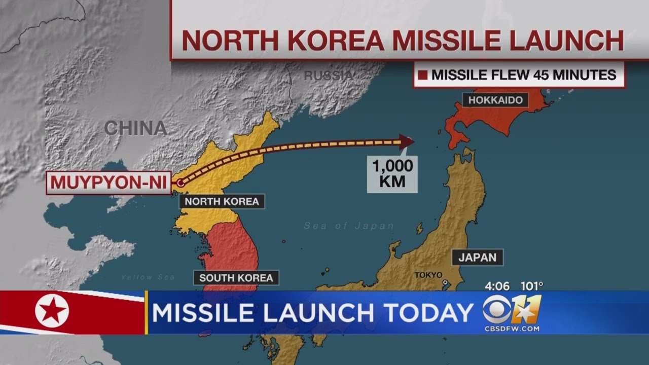 Developing North Korea Launched Intercontinental Ballistic - Japan map missile