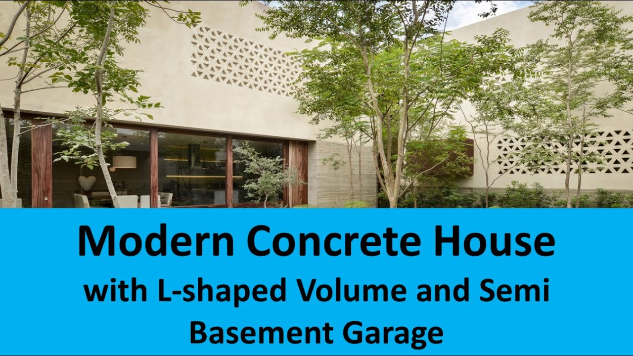 Modern concrete house with l shaped volume and semi for Semi concrete house