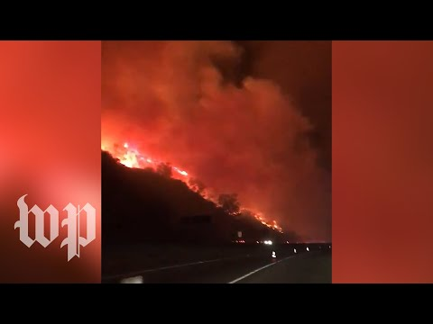 'Absolutely Crazy': Drivers Share Video Of Getty Fire Roaring Along Los Angeles Freeway