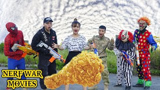Nerf War Movies: Spider X Warriors Nerf Guns Fight Criminal Group Rescue Friends From Spider Monster