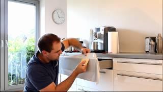 Klebefolie nahtlos um Kanten und Ecken verkleben