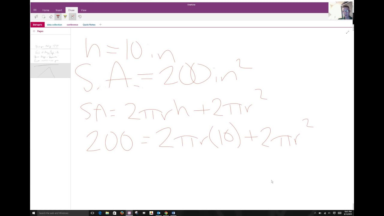 Solving For Radius Of Cylinder Given Surface Area And Height