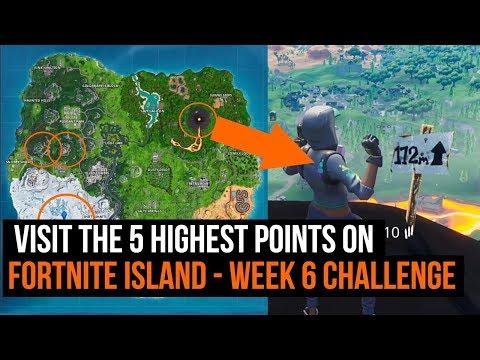 Visit The 5 Highest Points On Fortnite Island - Fortnite Week 6 Challenge