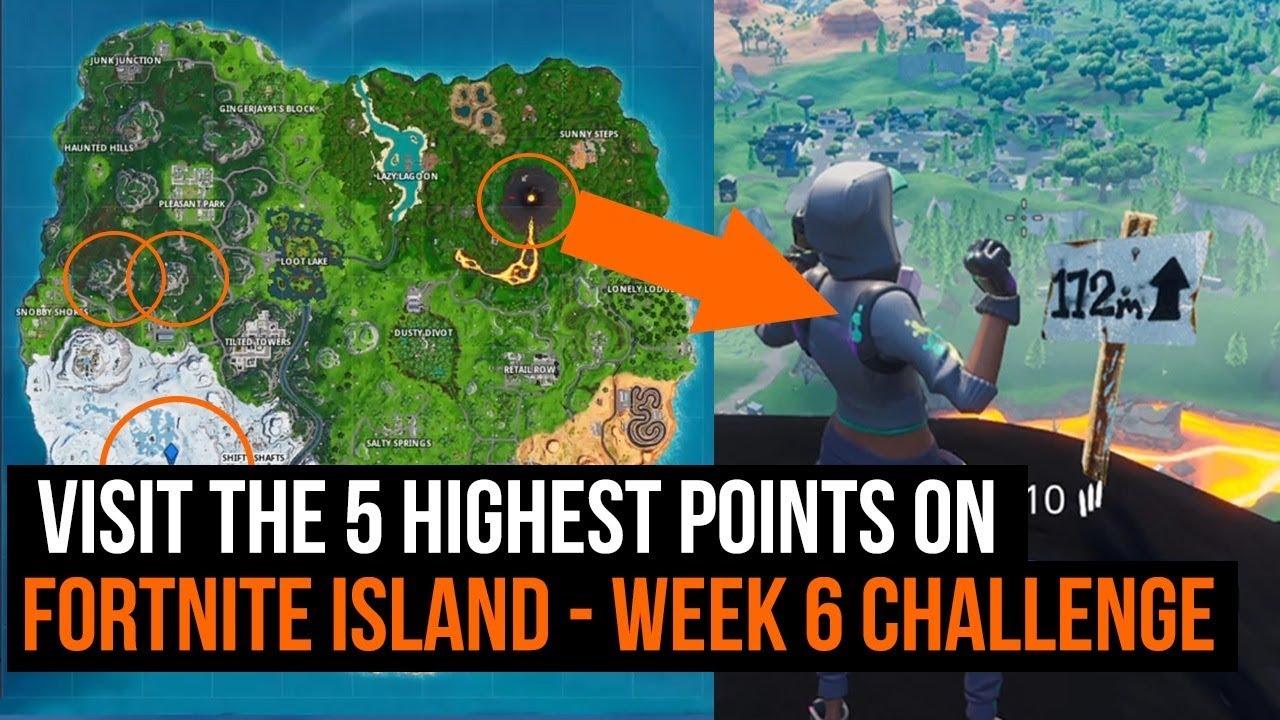 Visit The 5 Highest Points On Fortnite Island Fortnite Week 6