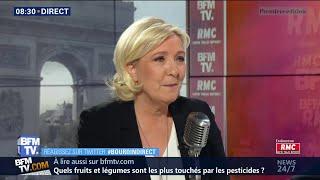 Marine Le Pen était face à Jean-Jacques Bourdin à 8H30 sur RMC et BFMTV
