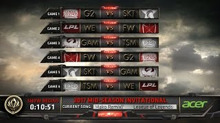 MSI 2017 Day 1 Highlights - SKT vs G2, WE vs FW, GAM vs TSM, FW vs G2, SKT vs GAM, TSM vs We