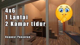 Rumah Minimalis 4x6 Dengan 2 Kamar Tidur - Tiny House Indonesia