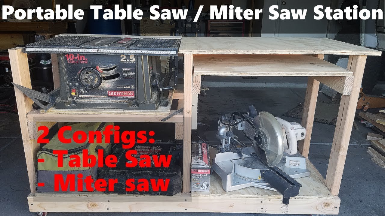 Compact And Portable Table Saw Miter Saw Station Youtube