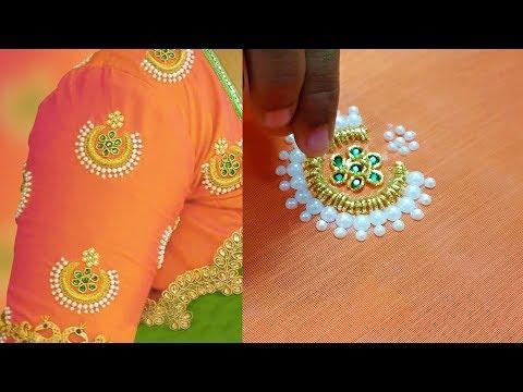 zardosi work on blouse   aari work for beginners   aari work blouse designs   hand embroidery   203 video download