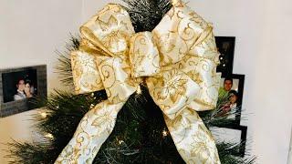 Moño Navideño con Cola para el Árbol de Navidad, Corona, Arreglos Navideños, etc