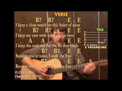 I Walk The Line (Johnny Cash) Guitar Cover Lesson with Chords and Lyrics on Screen