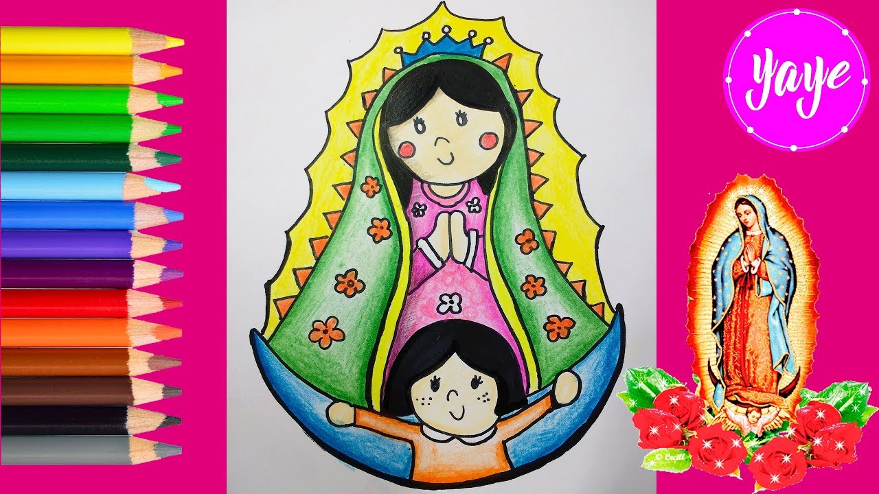 Cómo colorear la virgen de Guadalupe paso a paso dibujos para niños ...