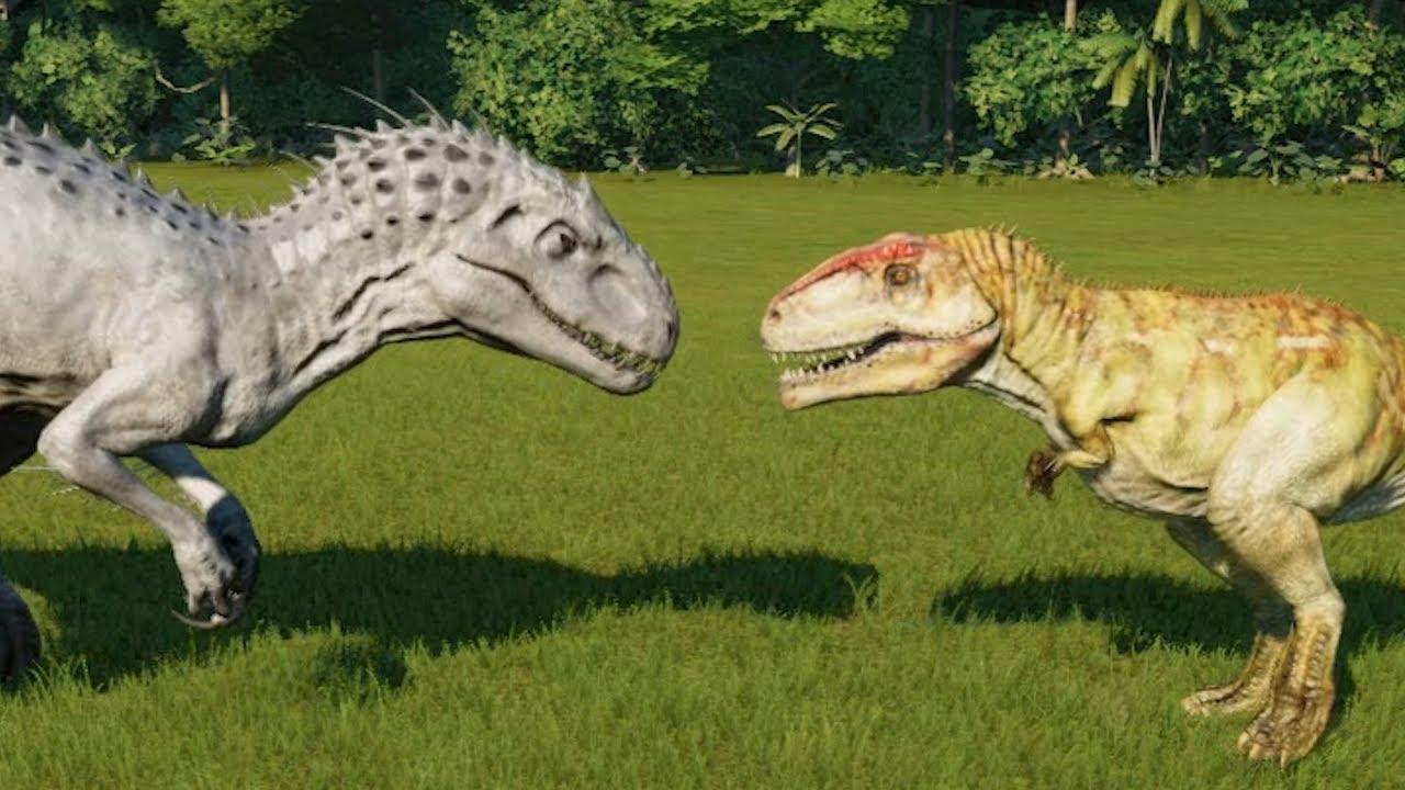 giganotosaurus vs indominus rex jurassic world evolution