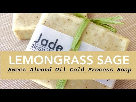 004 Lemongrass Sage Sweet Almond Oil Cold Process Soap Making 鼠尾檸檬草甜杏仁油皂 By Jade Soap Shop