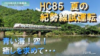 HC85系夏の紀勢線試運転!青い空・青い海最高!HC85 series hybrid diesel railcar test run against the beautiful sky and sea