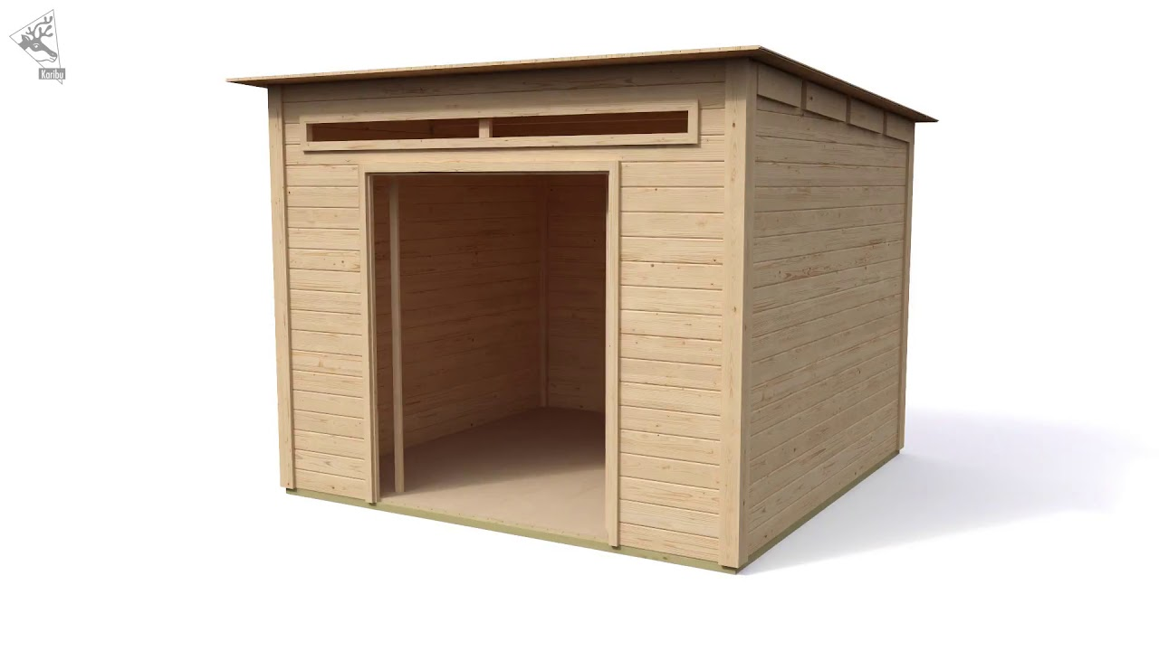 karibu gartenhaus 28mm pultdach mit anbaudach youtube. Black Bedroom Furniture Sets. Home Design Ideas