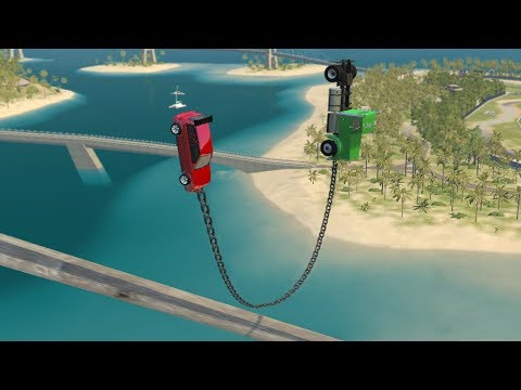 Beamng drive - Frontal Chained Cars against Steel Beam