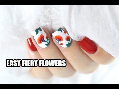 Easy Fiery Flowers Nail Art Tutorial (Valentine's Day idea) || Marine Loves Polish
