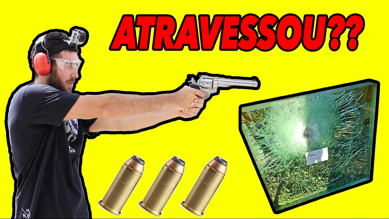 TESTE TIRO REVOLVER 44 MAGNUM Vs. VIDRO BLINDADO