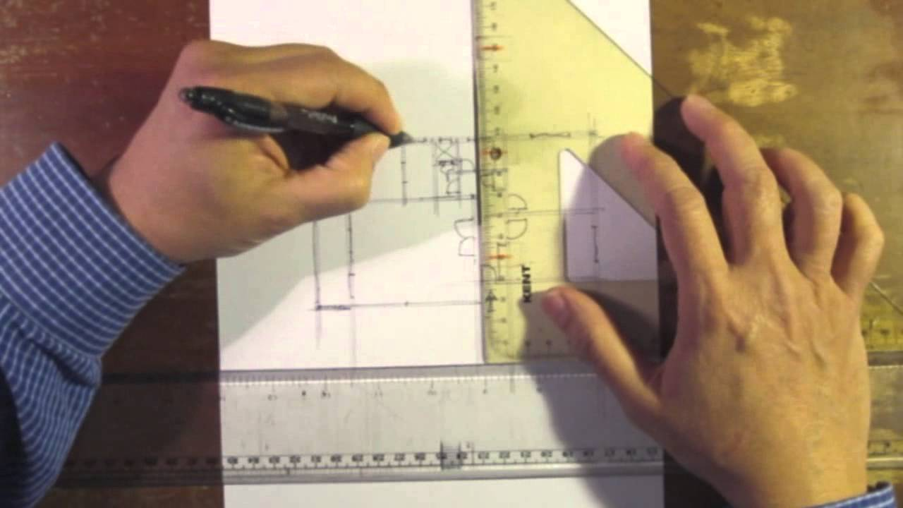 Architectural floor plan sketch by hand drawing no 5 youtube for How to draw architectural plans by hand