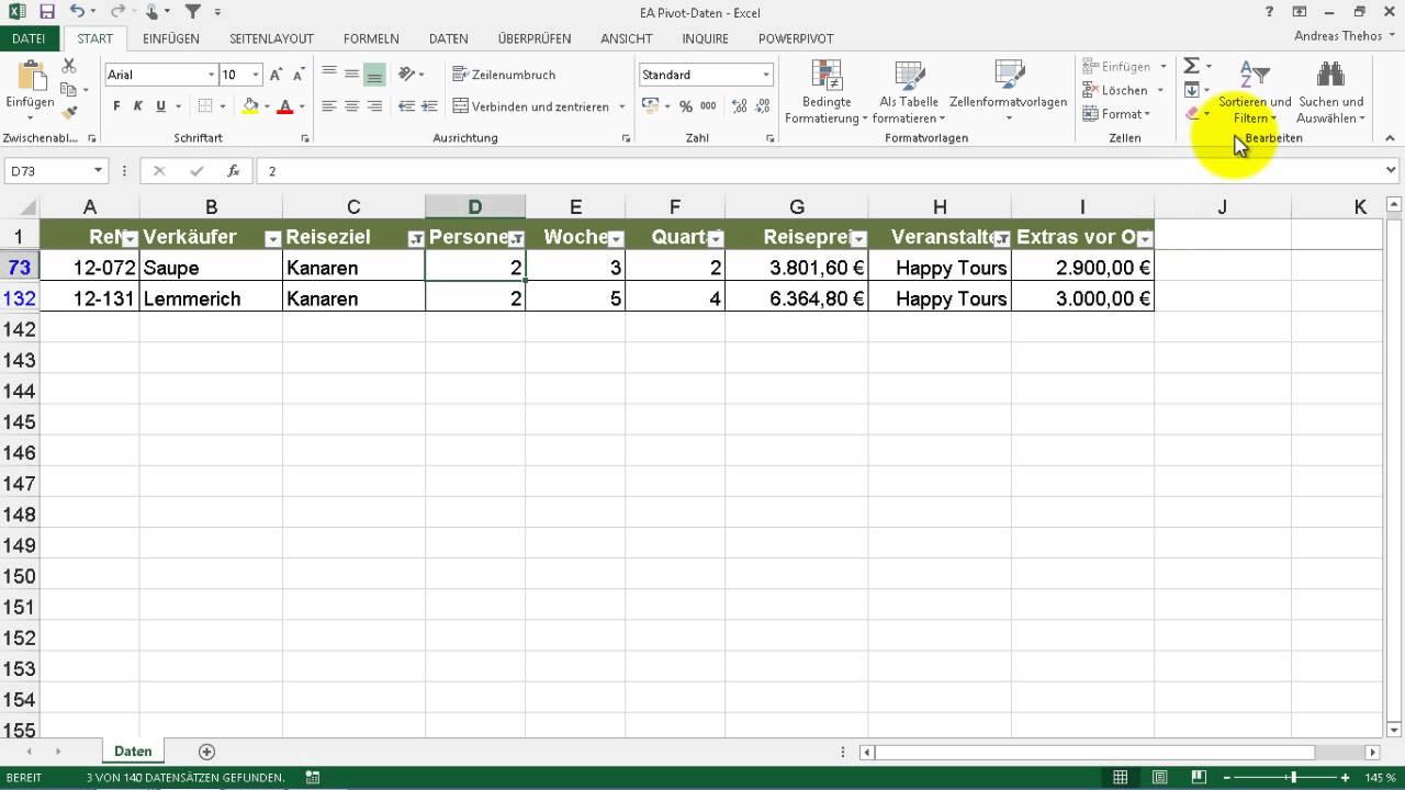 Excel # 314 - Auswahlbasierter Filter - AutoFilter auf Listen - YouTube