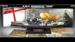 """Academy : H.M.S Warspite """"1942"""" Premium Edition : 1/350 Scale Model : In Box Review"""