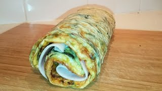 Omelette Roll W/caramelised Onion, Carrot & Ham (low-carb, Paleo, Primal, Dr Poon)