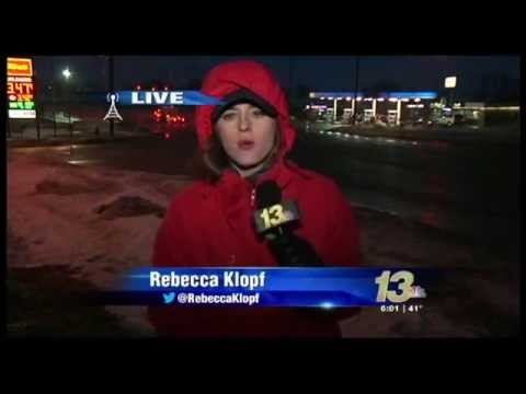 Rebecca Klopf reports live during the polar vortex as a storm approaches.