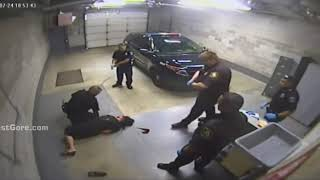 Six Michigan cops stand around as citizen bully attacks handcuffed woman