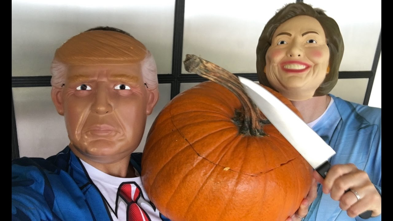 Tom Daley and Dustin Lance Black Have a 'Trump vs  Clinton' Pumpkin